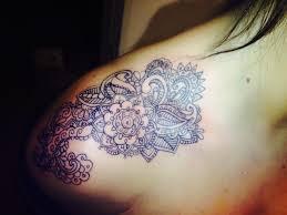 shoulder tattooo shoulder tattoo lace tattoo by brandon fisher potomac illinois