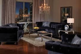 Velvet Sofa Set 3 Piece Black Velvet Sofa Set W Accent Pillows By Coaster