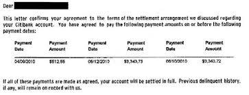 citibank citi cards sample debt settlement letter leave debt behind
