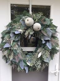 silver fruit and flocked green leaves wreath wreaths by