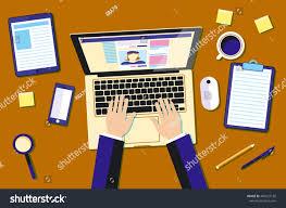 Graphic Designer Desk Professional Creative Graphic Designer Working Office Stock Vector