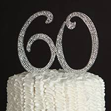60 cake topper 60 cake topper for 60th birthday or anniversary silver