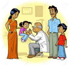 le bureau fille famille indienne invité le bureau et la fille du docteur reçoit une