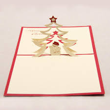 3d christmas blessings memorial invitation card red paper cut