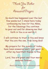 prayer thank you for answered prayers