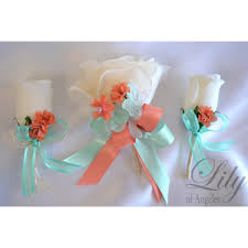 coral boutonniere coral robin s egg blue pool ivory bouquets corsages boutonnieres