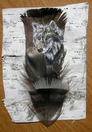 turkey feather painting painted wolf on turkey feather framed on birch bark