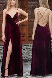 backless prom dress ball gown cute wine velvet long prom dress