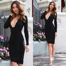 2017 black deep v neck bodycon kim kardashian dress for