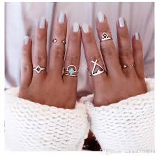 silver rings set images 2016 knuckle ring sets for women tibetan silver plated joint rings jpg