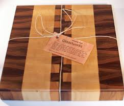 handmade walnut maple and cherry end grain wood cutting board by