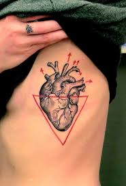 triangle and human heart tattoo on side rib
