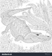 zentangle stylized cartoon crocodile alligator among stock vector