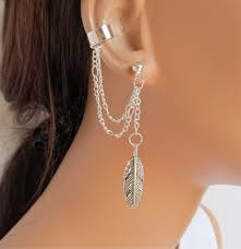 cuff earrings with chain ear cuff earrings silver chain large feather gift