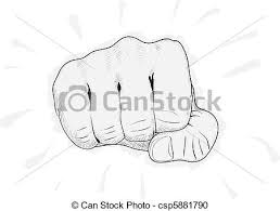 vector clipart of vector simple drawing fist on white background