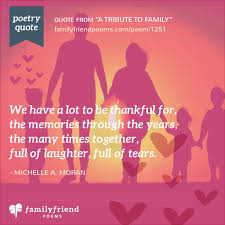 a tribute to family poem about family