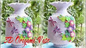 3d Flower Vase 3d Origami Flower Vase V3 Tutorial Cómo Hacer Flor De Origami 3d
