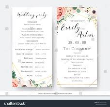 wedding program design wedding program party ceremony card design stock vector 1025371093