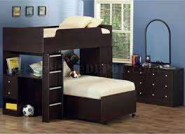 Cool Bunk Beds With Desk by Dark Cappuccino Finish Kids Contemporary Loft Bed W Study Desk