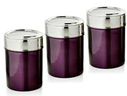 kitchen canisters stainless steel purple kitchen canisters dezinox stainless steel set of 3 jars