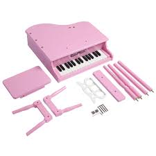 childs 30 key toy grand baby piano w kids bench wood pink new