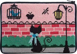 peterson cosmetic purse animal skins needlepoint kit