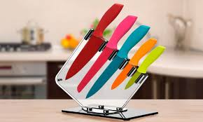 coloured kitchen knives set 5 rainbow knife block set groupon goods