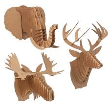 Fake Deer Head Wall Mount Cardboard Animal Heads Paper Deer Moose Elephant Uncommongoods