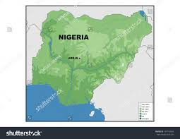 nigeria physical map physical map nigeria stock illustration 149193458