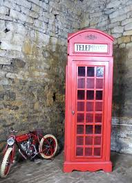 Red Phone Booth Cabinet Large Life Size Replica Red Telephone Box Cabinet Storage