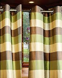 Green And Brown Curtains Gold Green Brown Plaid Eyelets Grommet Bedroom Window