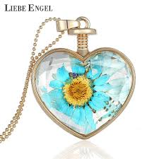 crystal glass pendant necklace images Liebe engel jewelry vintage dried flower collares crystal glass jpg