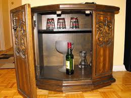 Teak Bar Cabinet Antique Half Round Light Brown Polished Teak Wood Liquor Cabinet