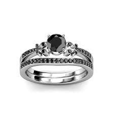 black bridal sets black diamond four prong milgrain work bridal set ring wedding