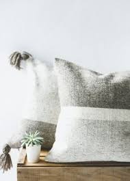 Linen Covers Gray Print Pillows White Walls Grey Monochrome Cushion Cover Dashes Screen Printed Black Ink On