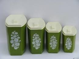 green kitchen canisters sets green kitchen canisters green white flowers vintage plastic