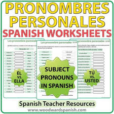 pronombres personales spanish worksheets by woodward education tpt