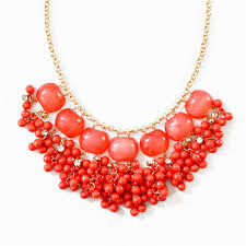 drop bead cluster drop necklace coral bib necklace with cascading bead
