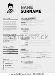 resume template simple resume minimalist cv resume template simple stock vector 505833598