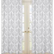 White Grey Curtains Grey And White Elizabeth Damask 84 Inch Curtain Panel Pair Formal