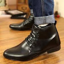 men dress formal low heel ankle boots pointed toe casual lace up