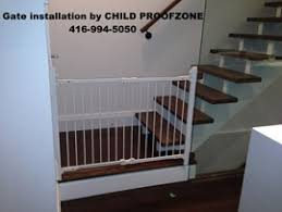 Baby Gate For Stairs With Banister And Wall Toronto Child Safety Child Proofzone Baby Proofing Child Proof Zone