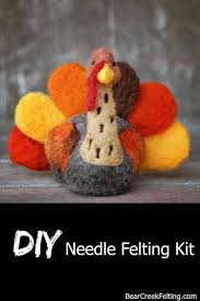 turkey needle felting kit thanksgiving kit advanced