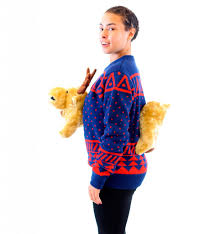 s navy 3d sweater with stuffed moose