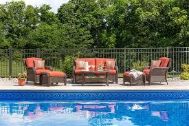 Outdoor Lifestyle Patio Furniture by Sawyer 6pc Resin Wicker Patio Furniture Conversation Set Orange