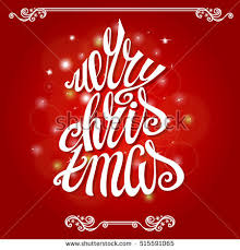 merry christmas vector text calligraphic lettering stock vector