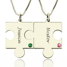 engraved necklaces for puzzle necklace for couples necklaces silver