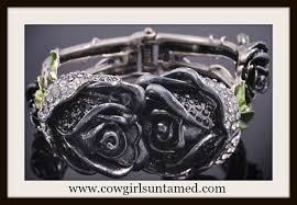 rose rhinestone bracelet images Cowgirl gypsy cuff crystal rhinestone double rose antique silver jpg