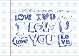 i love you inscription in sketch style on sheet paper background