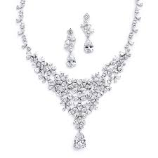 prom necklace silver plated cubic zirconia necklace and earrings set promsugar